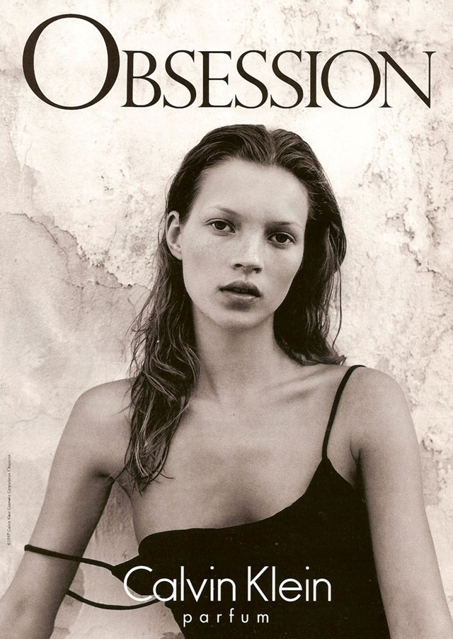 Kate Moss in the 1992 Obsession campaign