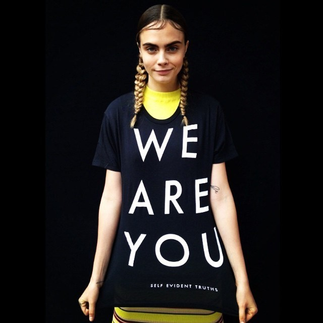 Cara Delevingne in a Self Evident Truths t-shirt