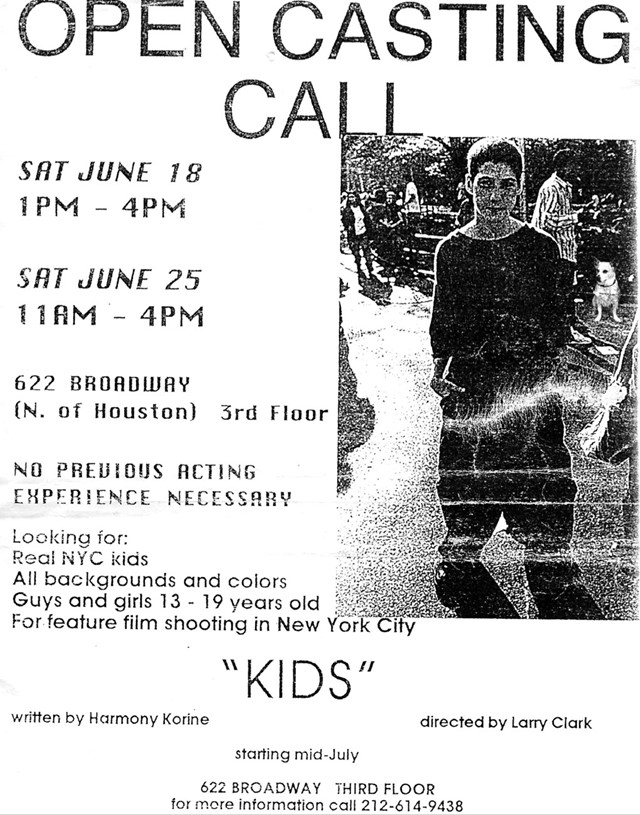 Larry Clark Kids casting flyer
