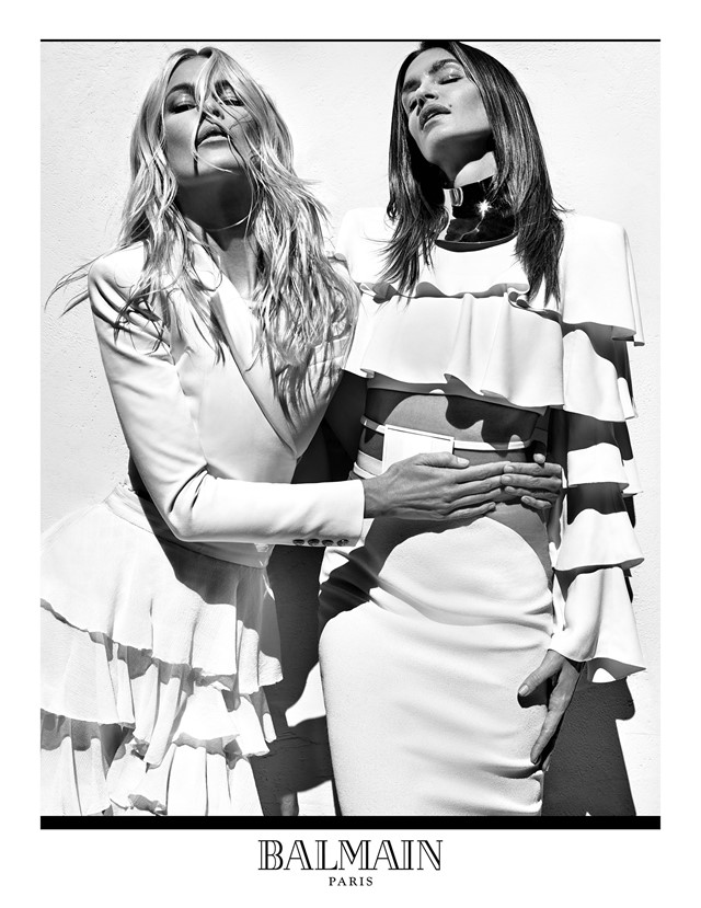 Claudia Schiffer and Cindy Crawford for Balmain SS16