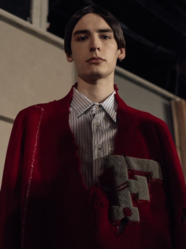 Backstage at Raf Simons AW16