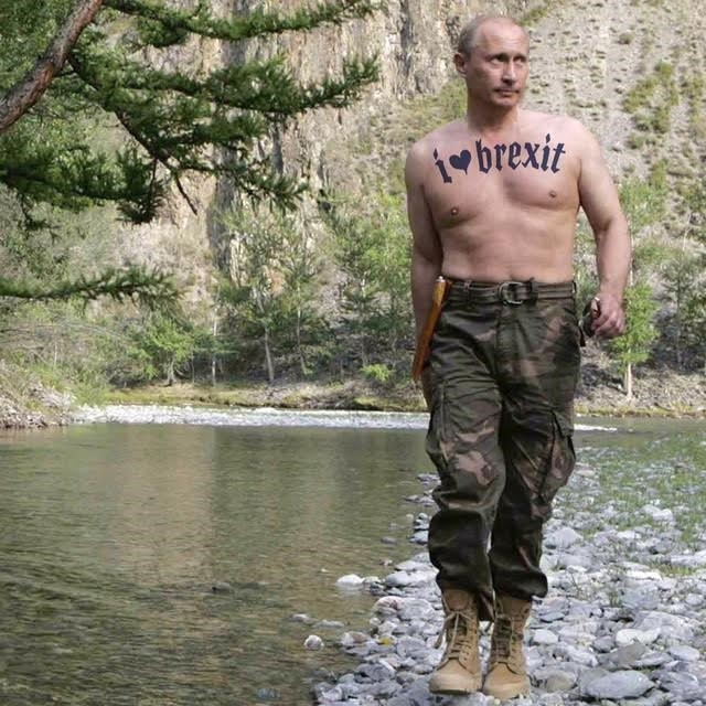 Jeremy Deller Puts Pro Brexit Tattoo On A Topless Putin Dazed