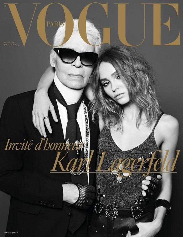 vogue paris cover karl lagerfeld chanel lily rose depp