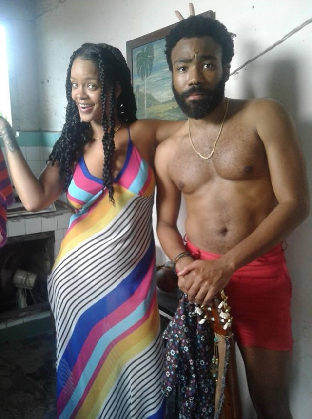 Rihanna and Donald Glover on set