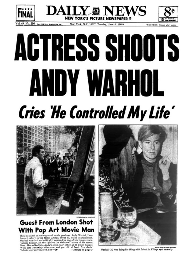Valerie Solanas and Andy Warhol newspaper clipping