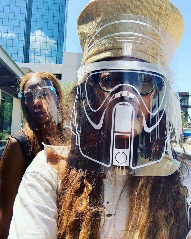 Erykah Badu's face shield