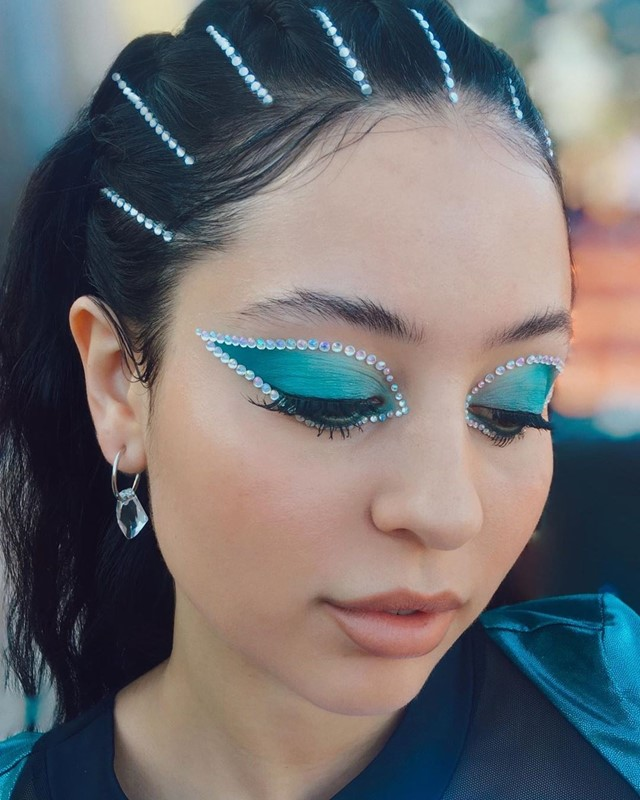 Maddy's turquoise crystal look