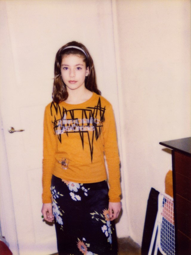Siggie wearing her zigzag-top and flower skirt (1996)