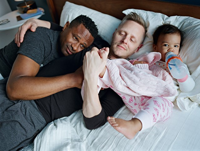 Harrison and Christopher with their daughter Genhi