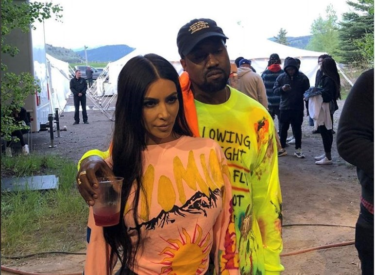 Kim and Kanye at ye listening party