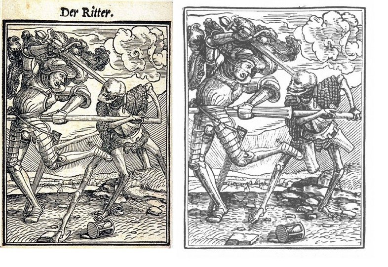dfa47e8f66d Left to right: A photoshopped German woodcut purporting to show Slender Man;  the unaltered original