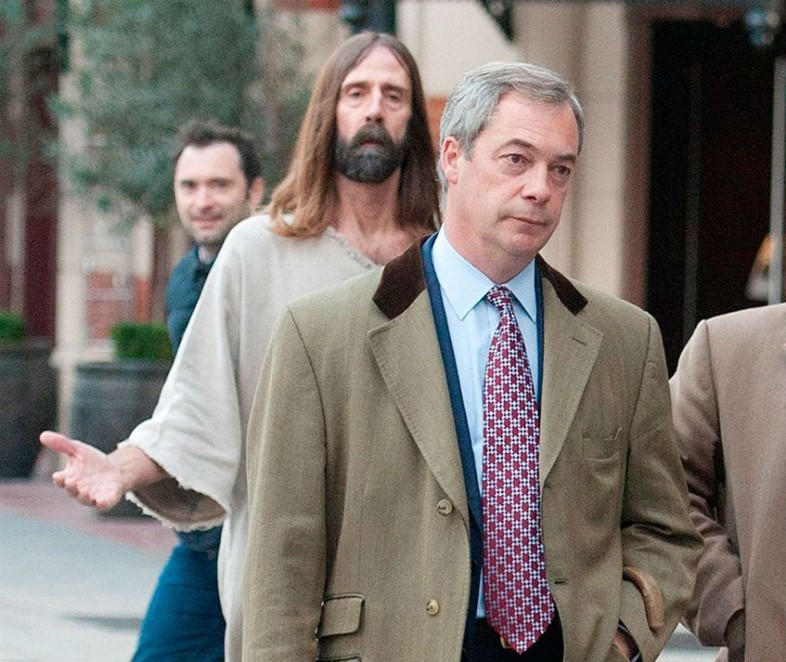 Nigel Farage being followed by Jesus