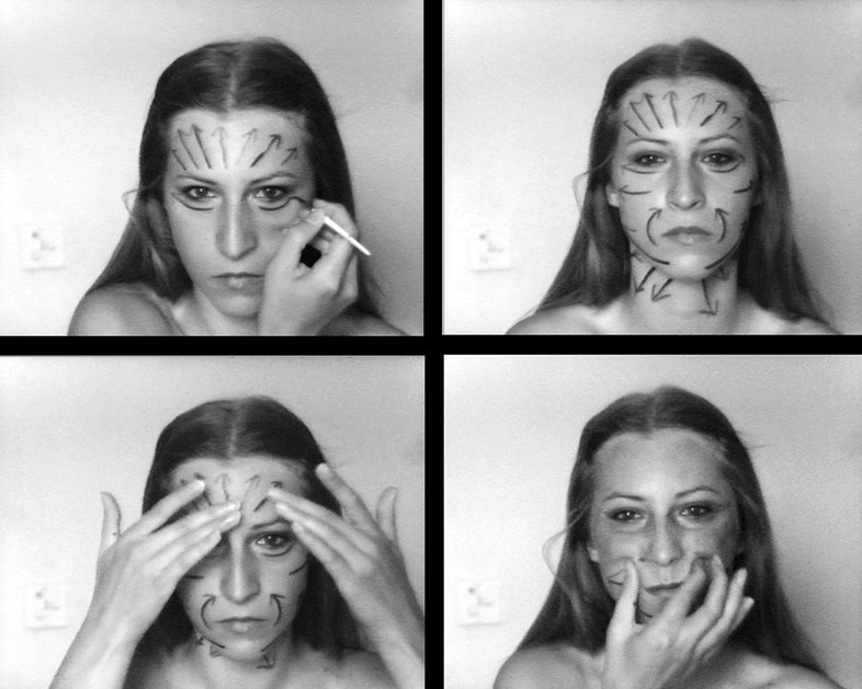 """Still from """"Instructions No.1"""", 1976, black-and-white video"""
