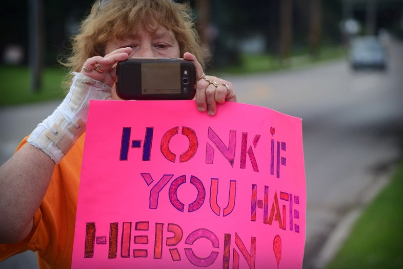 Heroin protest