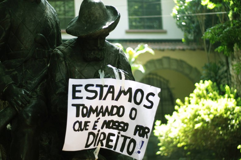 protest sign in sao paulo school