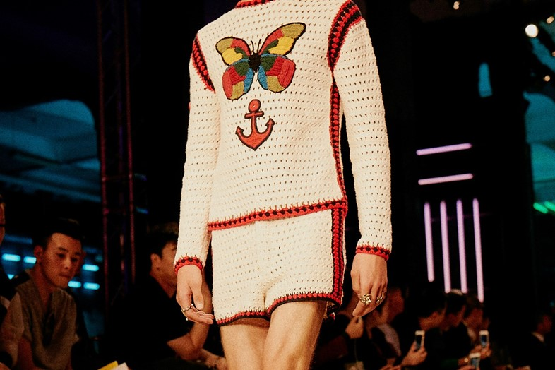 A crochet shirt from the men's Spring Summer 2016 collection