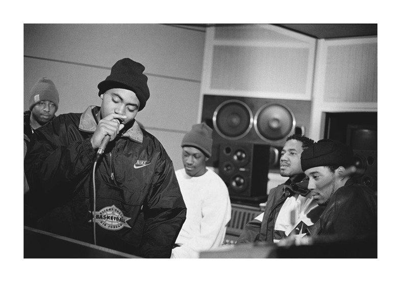 Nas in the studio during recording sessions for Illmatic