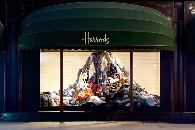 Vetements donated clothing installation Harrods