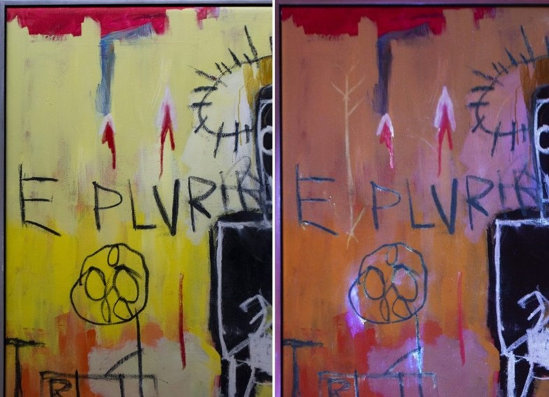 Jean-Michel Basquiat's invisible ink on Untitled 1981