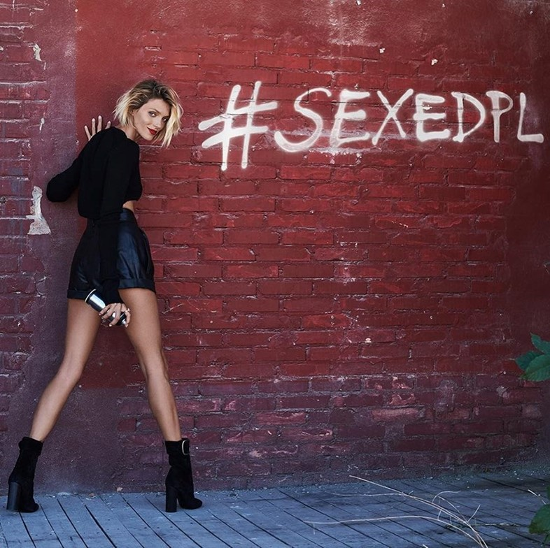 Anja Rubik in her sex education campaign