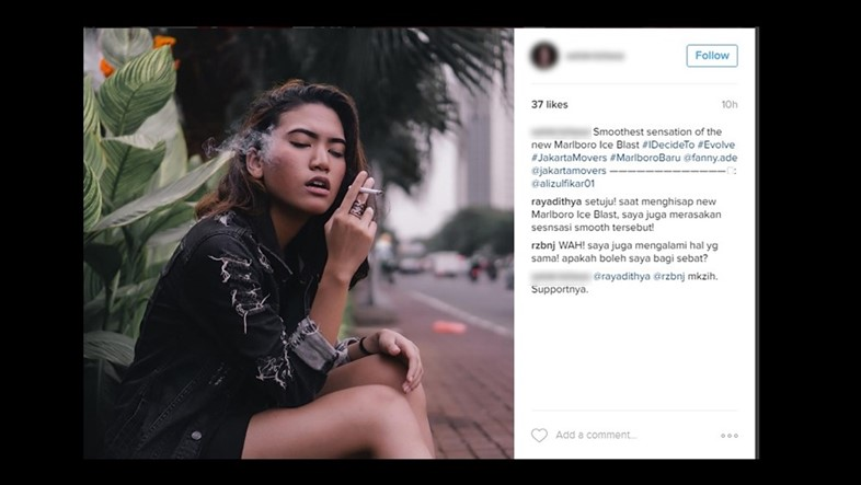 Influencers smoking cigarettes in Big Tobacco campaigns
