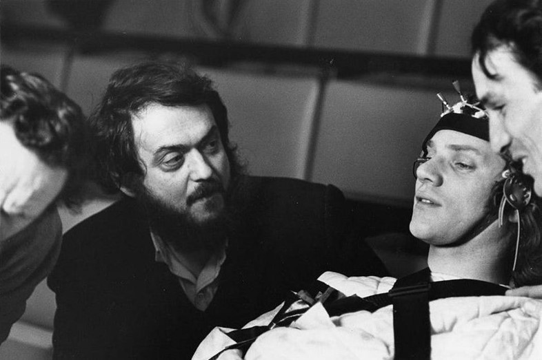 Stanley Kubrick and Malcolm McDowell in A Clockwork Orange