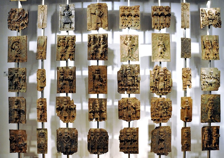 Cast brass plaques from Benin City, British Museum