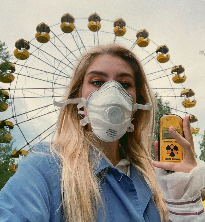 Instagram user takes selfie at Chernobyl