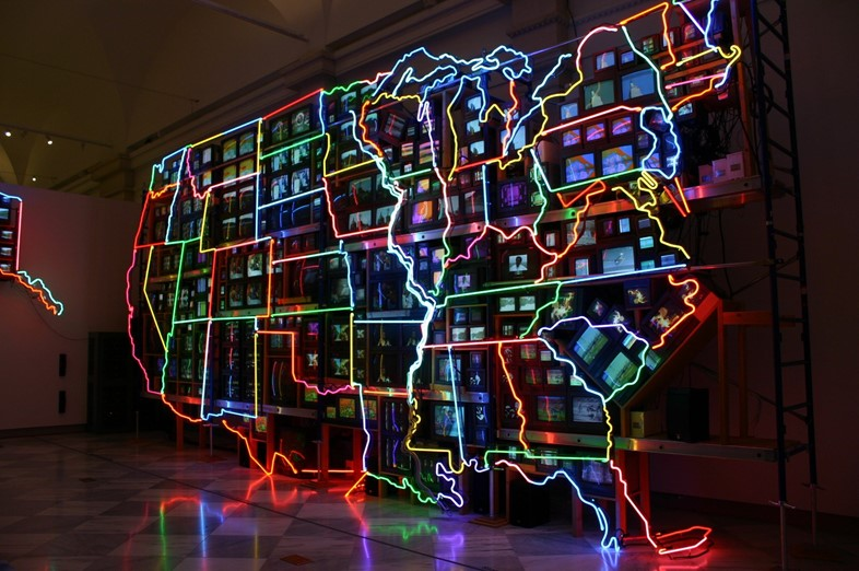 "Nam June Paik, ""Electronic Superhighway"" (1995)"