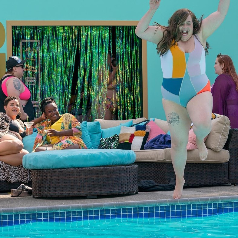 Annie and friends at the fat babe pool party in Shrill