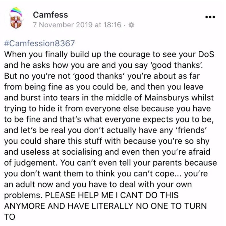 Camfess university 'confessions' page