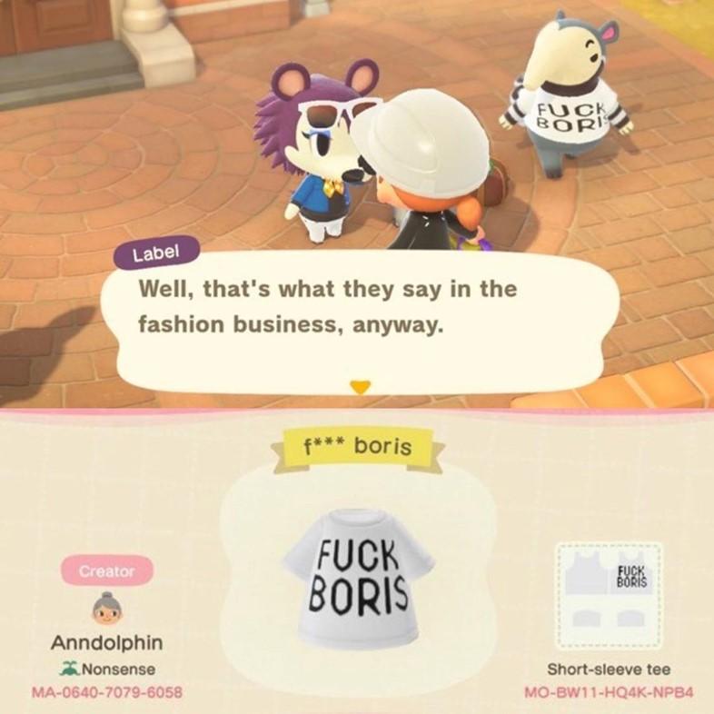 @sportsbanger @eatplastik Fuck Boris Animal Crossing fashion