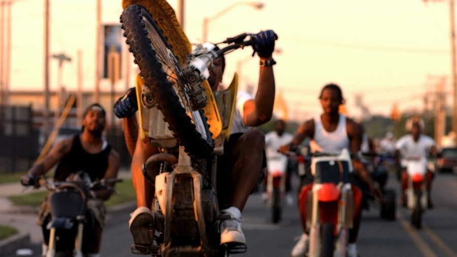 Dirtbike riders in a still from 12 O'CLOCK BOYS
