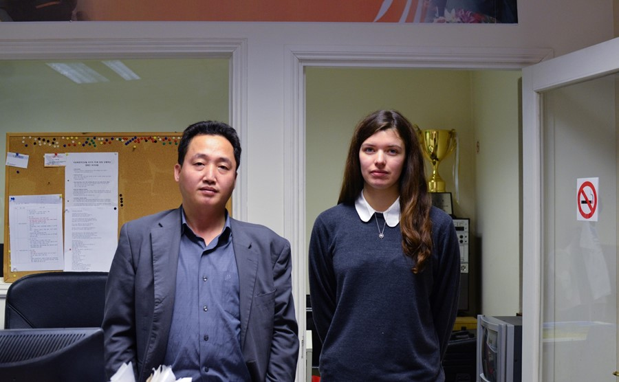 Joo Il Kim and Lucy Edwards after watching The Interview