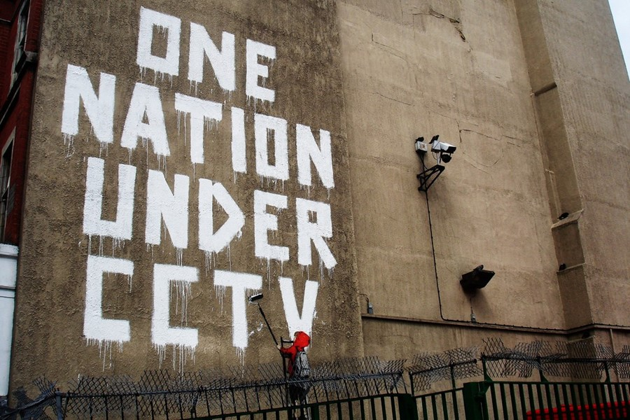 Banksy One Nation Under CCTV London graffiti