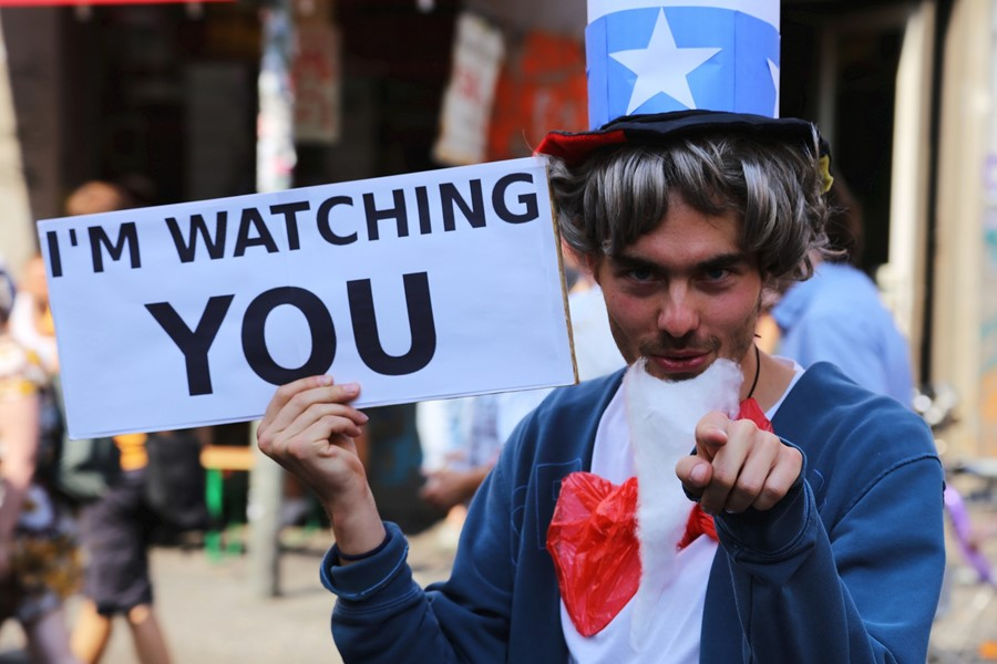 I'm Watching You Uncle Sam Protester Sign