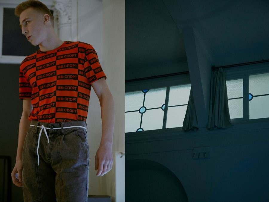 Gosha Rubchinskiy AW15 cnopt red tshirt Mens Dazed backstage