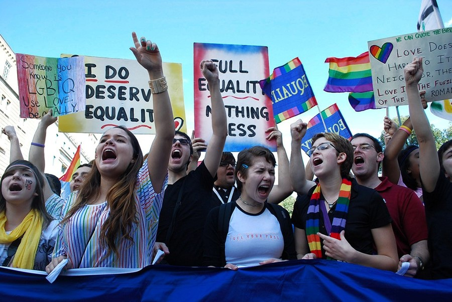LGBT activists protesting outside White House