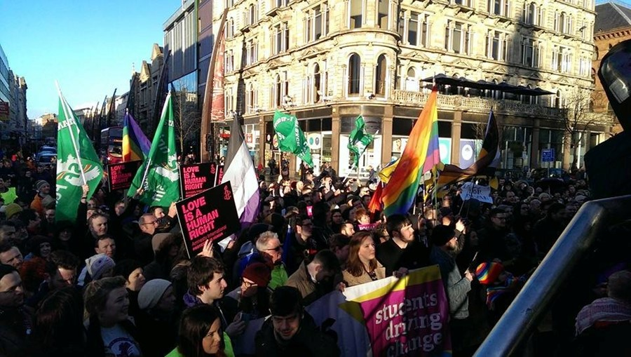 The Rainbow Project LGBT protest Belfast