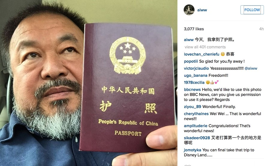 Ai Weiwei and his passport