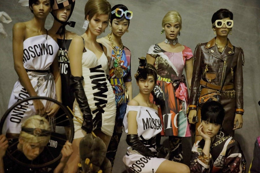 Backstage at Moschino AW17