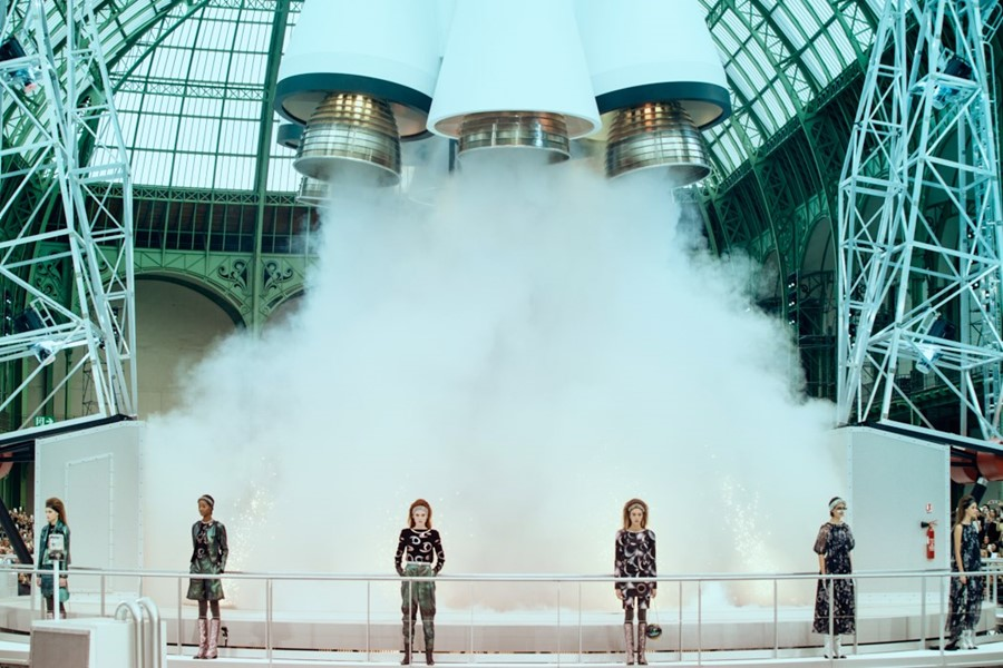 Karl Lagerfeld just launched a rocket at the Chanel show