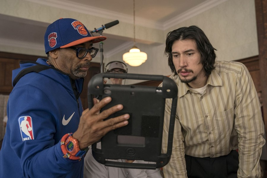 Spike Lee and Adam Driver on the set of BlacKkKlansman