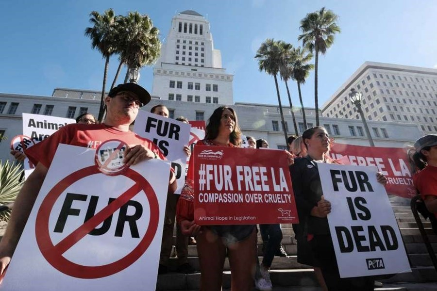 Los Angeles fur protest