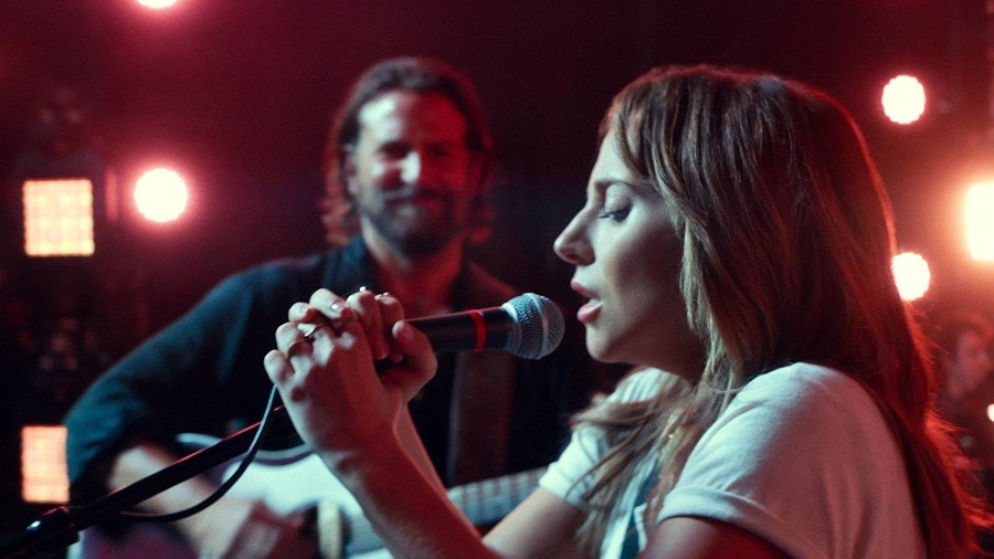 Lady Gaga and Bradley Cooper performing in A Star is Born