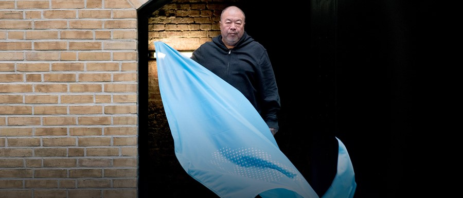 Ai Weiwei and his newly designed human rights flag