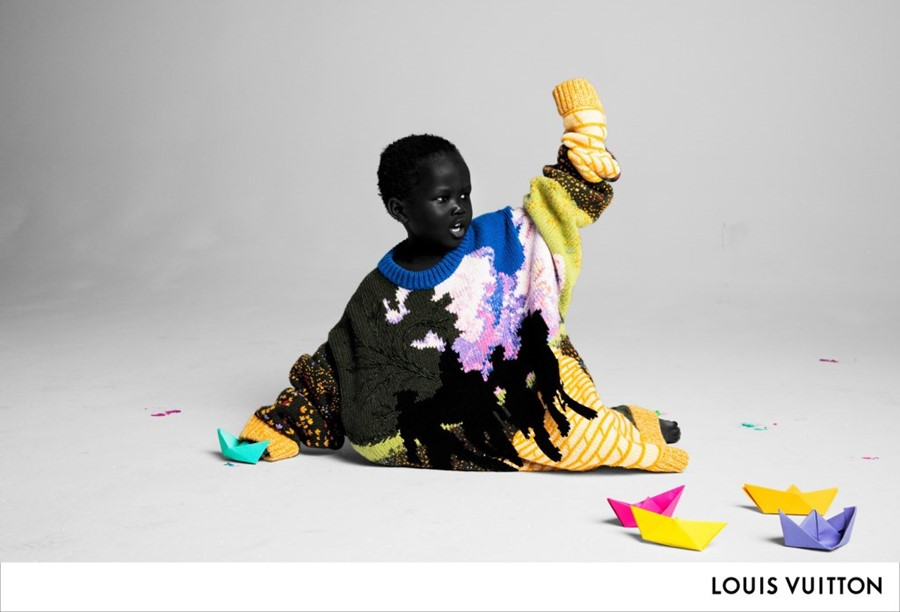 f1f03581a289 A group of kids front Virgil Abloh s debut Louis Vuitton campaign ...