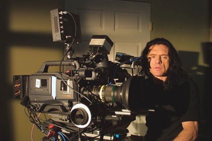 Tommy Wiseau on set of his new film Big Shark