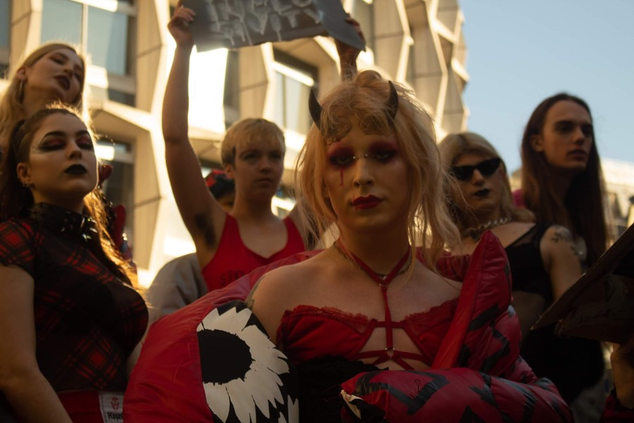 Trans activists Transmissions protest at LFW