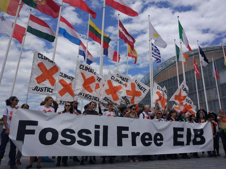 EIB fossil fuels protest in Luxembourg